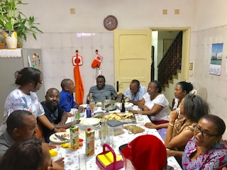 My family enjoying Filomar's food at my uncle's place.