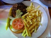 Mom's burger, with mushrooms