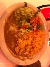 Beans, rice, guacamole, pico de galo.