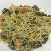 Shrimp and pastrami carbonara. Mom liked it, but I tasted it at home and thought it was okay. Not better than the red beans and rice.